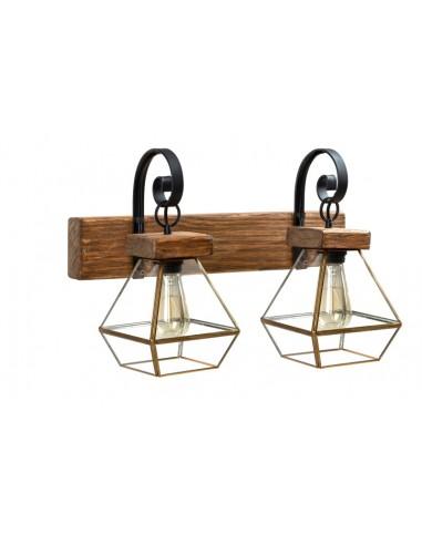 Lámpara aplique rústico de madera con...