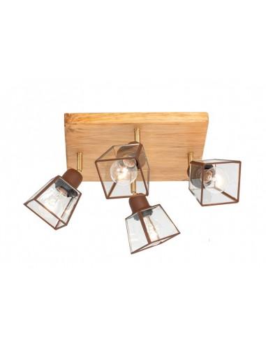 Lámpara plafón rústico de madera 4...