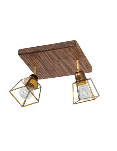 Lámpara plafón rústico de madera 2...