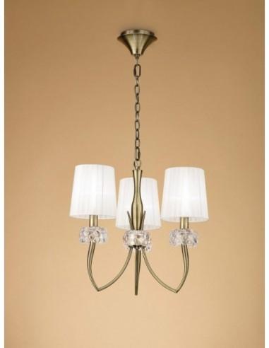 Lámpara Loewe 3 Luces cuero 4733 de...
